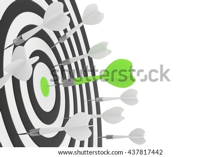 Darts board with green center and arrow on white background. 3D rendering. - stock photo