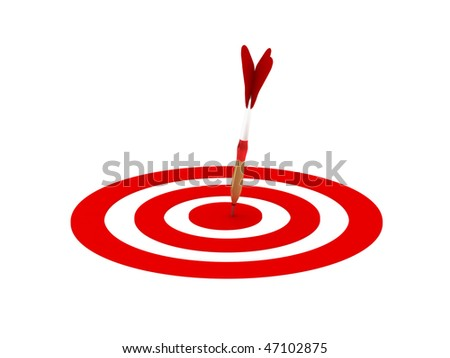 Darts. Dartboard with dart in center isolated on white background. High quality 3d render. - stock photo