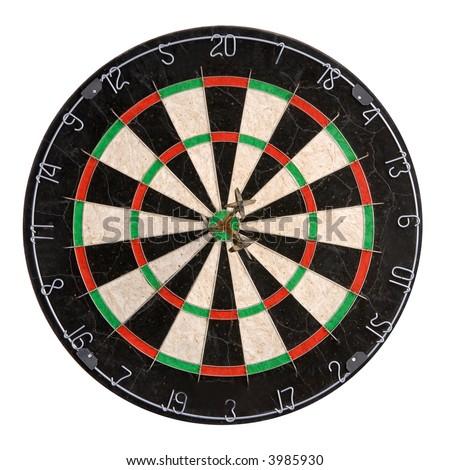 darts game sport. winning three darts in center - stock photo