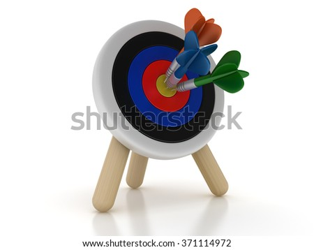 Darts Hitting the Center of Target - Success Concept - High Quality 3D Render  - stock photo
