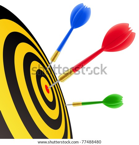 Darts hitting the target