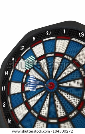 Darts in the target. Isolated - stock photo