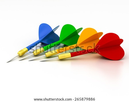 darts on a white background