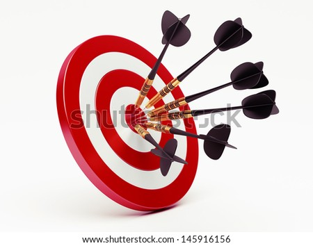 Darts on red target  - stock photo