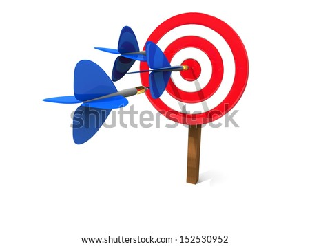 Darts serie. Image of marketing success concept or business goal