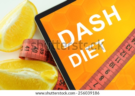 Dash diet on tablet.  - stock photo