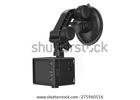 Dashboard camera/DVR with car holder isolated on white background - stock photo