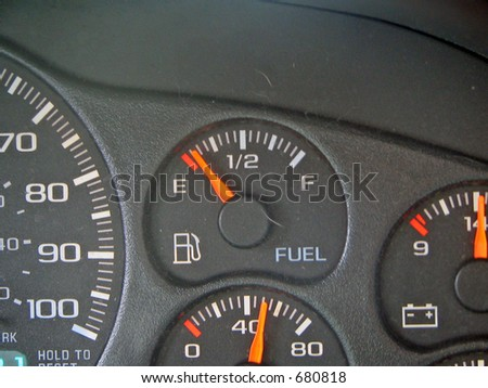 Dashboard Fuel Gage - stock photo