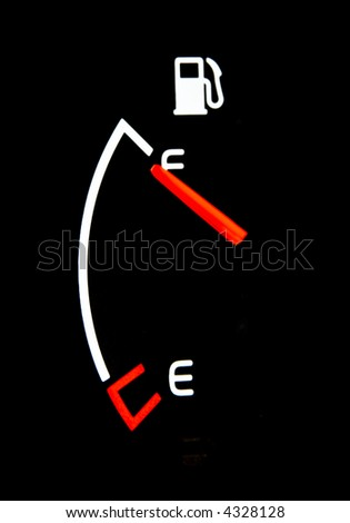 dashboard gasoline indicator in car shows full tank - stock photo