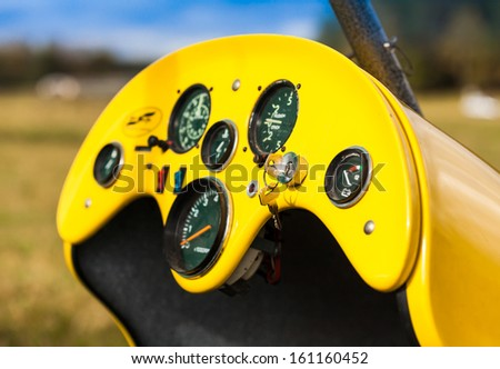 dashboard glider on the runway - stock photo