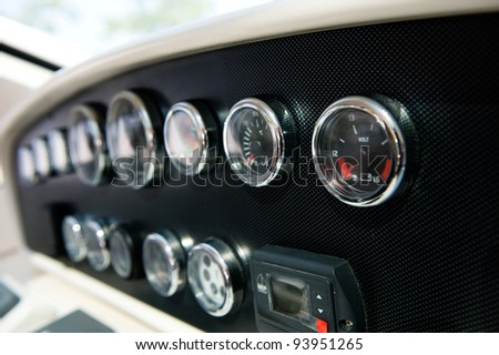 Dashboard instruments of a yacht. - stock photo