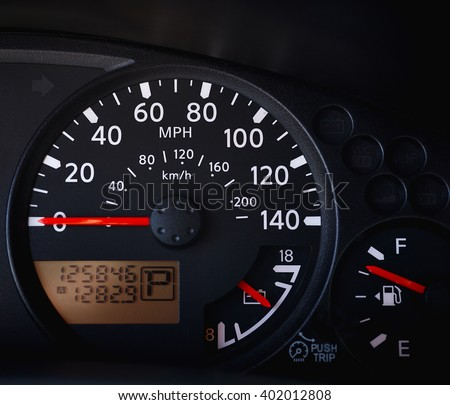 Dashboard Car Showing Tachometer Partial Speedometer Stock Photo - Car image sign of dashboardcar dashboard sign multifunction display stock photo royalty