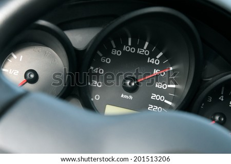 dashboard of car going fast. high speed concept