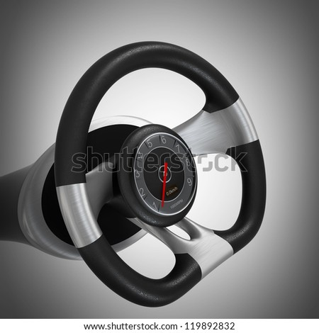 dashboard on steering wheel. High resolution 3d render - stock photo