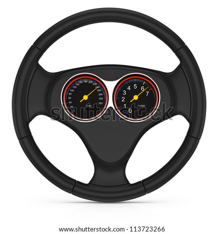 dashboard on steering wheel isolated on white background. 3d render - stock photo