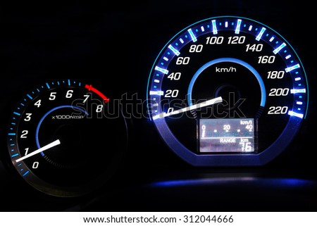 Dashboard. Speedometer - stock photo