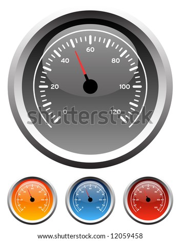Dashboard speedometer gauge icons in 4 colors - stock photo