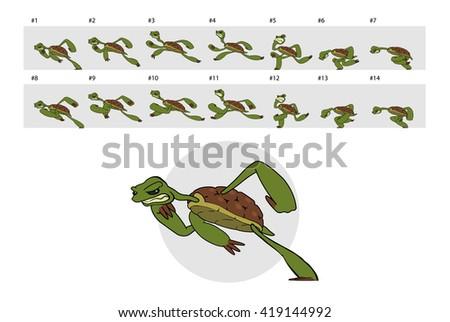 Dashing turtle. Classic animation of running turtle. - stock photo