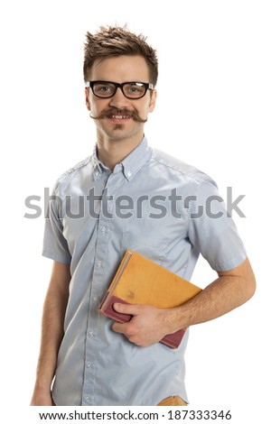 Dashing young man carries an old book, isolated on a white background - stock photo