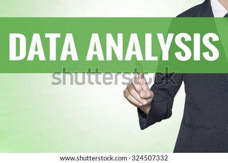 Data Analysis word on green virtual screen touching by business woman - stock photo