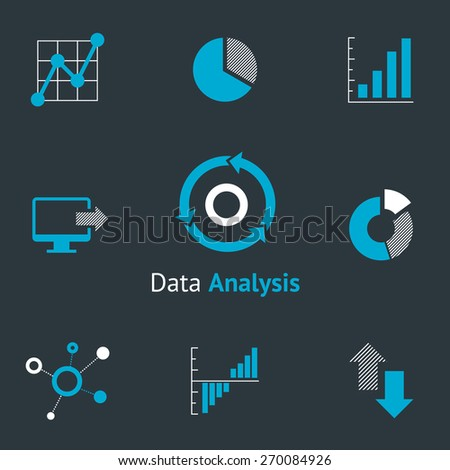 Data analytic icons set. Chart and diagram, infographic and progress - stock photo