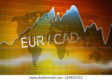 Data analyzing in foreign market: the charts and quotes on display. Analytics in pairs EUR/CAD - stock photo