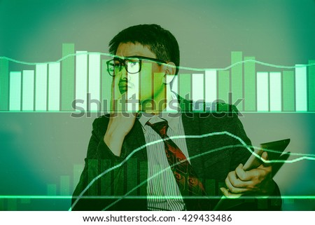 Data analyzing in trading market with pen. Working set for analyzing financial statistics and analyzing a market data. Data analyzing from charts and graph to find out the result. - stock photo
