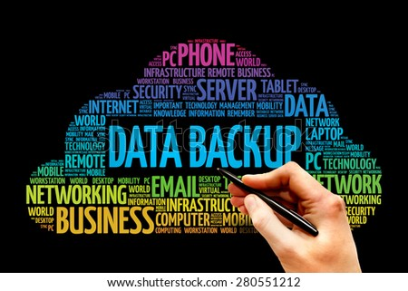Data Backup word cloud concept - stock photo