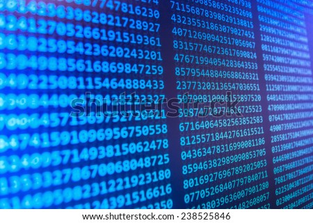 Data bits computer bits, shadow and dark vignette effect. Gibberish, dummy, lorem ipsum text. Letters, chars, and digits. Blue background of screen monitor. - stock photo