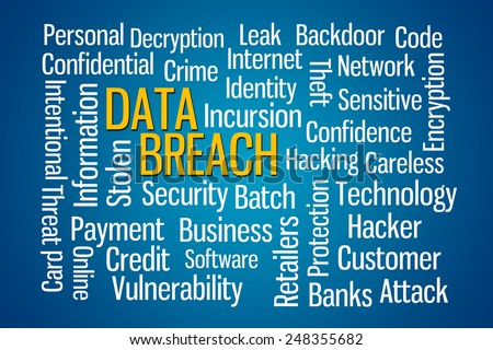 Data Breach word cloud on Blue Background - stock photo