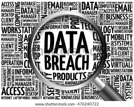 Data Breach word cloud with magnifying glass, business concept 3D illustration