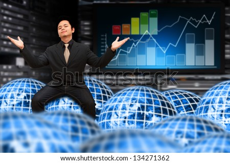 Data center and Network global concept : Elements of this image furnished by NASA - stock photo