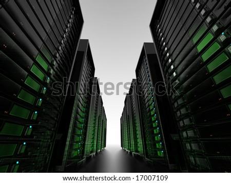 Data center server clusters with wireframe - stock photo