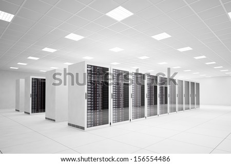 Data Center with 4 rows of servers and white floor - stock photo