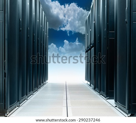 Data centre on cloud - stock photo