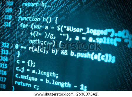 Data computer programmer bits stream of data bits. Digital display screen of modern  programmer coding work live. Abstract technology pattern background of IT project. Blue color. - stock photo