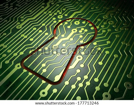 Data concept: circuit board with Keyhole icon, 3d render - stock photo