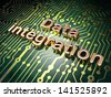 Data concept: circuit board with word Data Integration, 3d render - stock photo