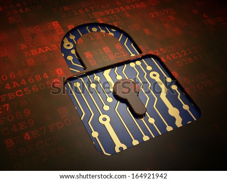 Data concept: digital screen with icon Closed Padlock, 3d render - stock photo