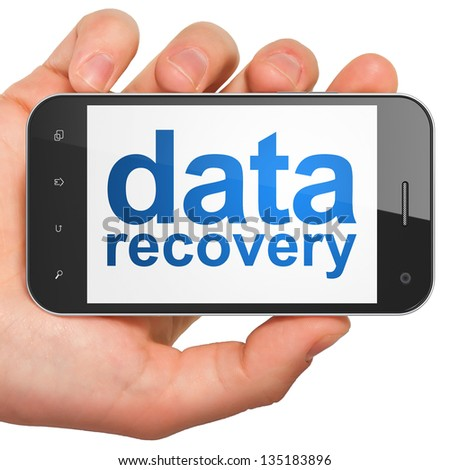 Data concept: hand holding smartphone with word Data Recovery on display. Generic mobile smart phone in hand on White background. - stock photo