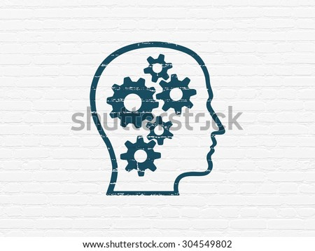 Data concept: Painted blue Head With Gears icon on White Brick wall background, 3d render - stock photo