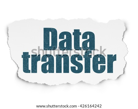 Data concept: Painted blue text Data Transfer on Torn Paper background with Scheme Of Binary Code - stock photo