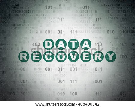 Data concept: Painted green text Data Recovery on Digital Data Paper background with Binary Code - stock photo