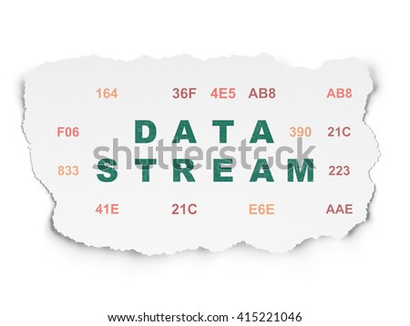 Data concept: Painted green text Data Stream on Torn Paper background with  Hexadecimal Code
