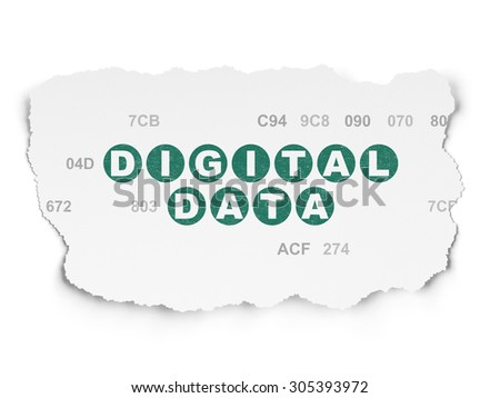 Data concept: Painted green text Digital Data on Torn Paper background with  Hexadecimal Code, 3d render - stock photo