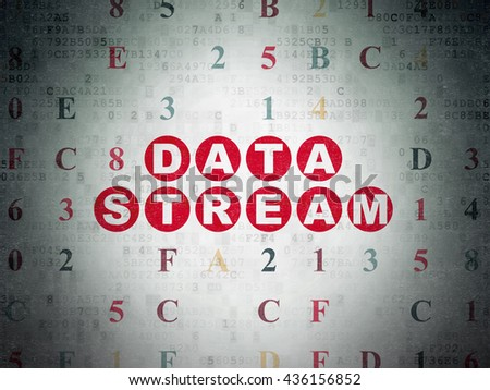 Data concept: Painted red text Data Stream on Digital Data Paper background with Hexadecimal Code - stock photo