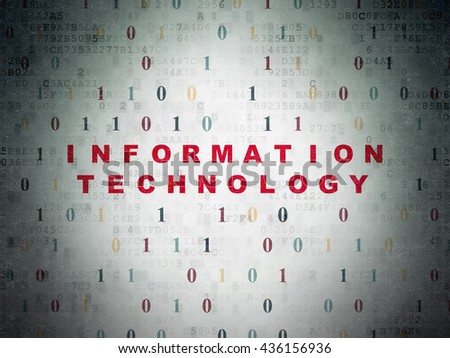 Data concept: Painted red text Information Technology on Digital Data Paper background with Binary Code - stock photo