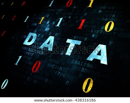 Data concept: Pixelated blue text Data on Digital wall background with Binary Code - stock photo