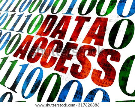 Data concept: Pixelated red text Data Access on Digital wall background with Binary Code - stock photo