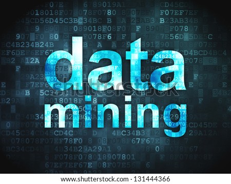 Data concept: pixelated words Data Mining on digital background, 3d render - stock photo